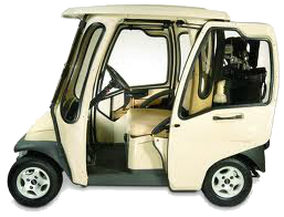 Sliding door golf cart with battery charger