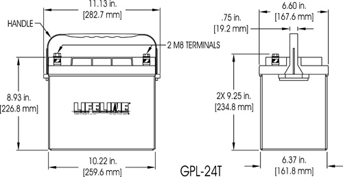 GPL-24T Marine Battery Specifications