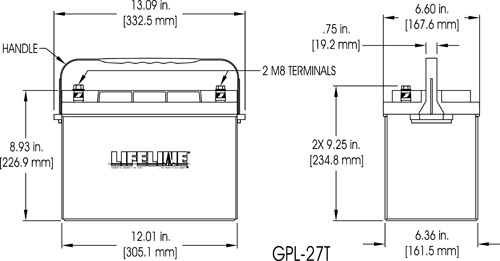 GPL-27T Marine Battery Specifications