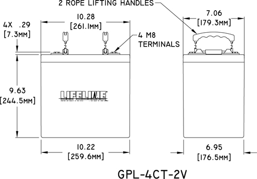 GPL-4CT-2V Marine Battery Specifications