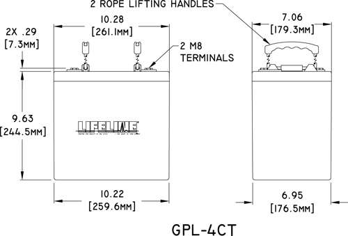 GPL-4CT Marine Battery Specifications